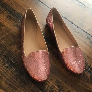 Kate spade pink glitter loafers size 8